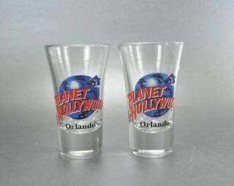 Planet Hollywood Orlando Florida Set of 2 Tall Flared Shooter Shot Glass