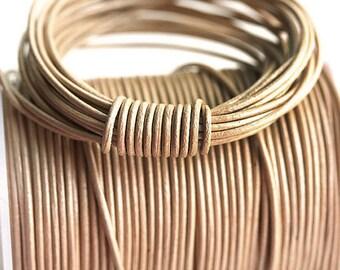 1mm Round Natural Leather cord - Dark Beige - 10 feet, LC050