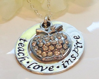 Teachers Necklace -Hand Stamped -Personalized Jewelry- Sterling Silvler-Teacher Gift-Teacher Necklace-Teach-Love-Inspire