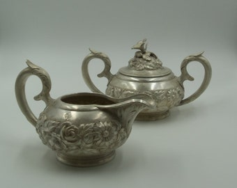 Stieff Sterling Silver Hand Chased Creamer and Sugar Bowl with Lid