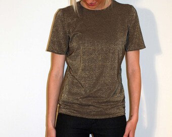 Gold T-Shirt Short Sleeves - Gold Viscose Jersey