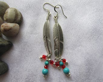 Turquoise Feather Ear Rings