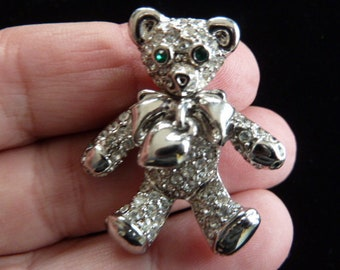 Vintage Swarovski Silver Tone Crystal Dangle Heart Teddy Bear Brooch Pin