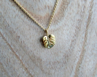 leaf necklace Gold Plated over Brass