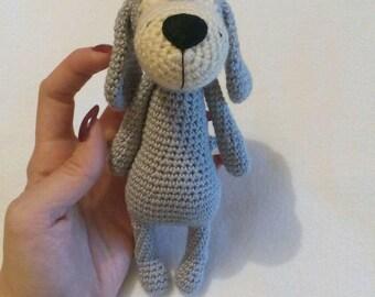 the dog knitting crochet cotton gray gift dog gift handmade