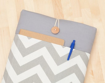Surface Laptop Case, Microsoft Surface Pro Cover, Surface Pro sleeve, Surface 3 Case, padded with pockets - chevron grey -