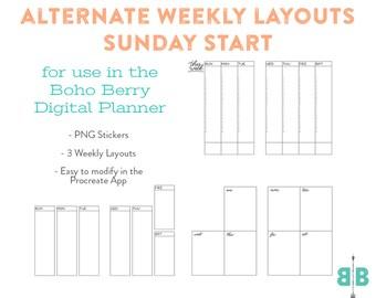 DIGITAL SUNDAY START Alternate Weekly Layouts for the Boho Berry Digital Planner