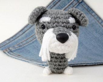 Amigurumi miniature Schnauzer, crochet Schnauzer, Stuffed Dog toy. Cute Schnauzer plushie. Stocking stuffer.