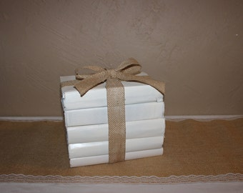 Rustic Wedding Decor / Ivory Books / Painted Staging Books / Book Bundle / Vintage Painted Books