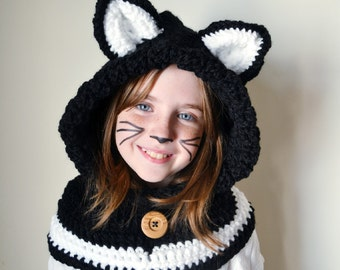 Black Cat Hat - Black Cat Hoodie - Black Cat Cowl - Animal Hat - Hooded Scarf - Crochet Hoodie - Chunky Crochet Hat