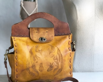 1970's Tiger Tooled Leather Top Handle Handbag
