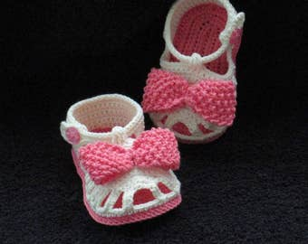 Crochet baby sandals,Crochet girls sandals,Baby sandals,Crochet cream sandals,Crochet bow sandals,Crochet cream and pink sandals