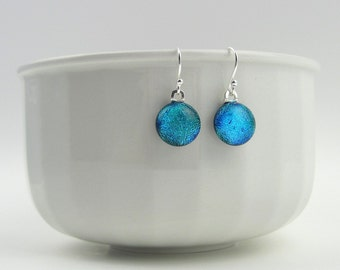 Glass drop earrings, turquoise blue fused glass with sterling silver earwires