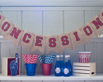 Concessions Burlap Banner, Concession Banner, Concession Sign, Baseball Decor, Baseball Party Sign, B106