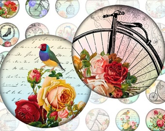 Whimsical vintage 1 inch circles digital collage sheet  (294) Buy 3 get 1 bonus