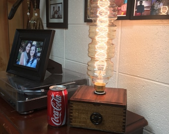 Ginormous 15-Inch Edison Bulb Lamp with Repurposed Cigar Box and Dimmer