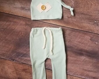 Newborn Boy Hat/Pant Set Photography Prop Mint Green