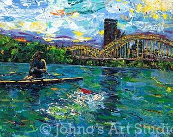 Impressionist art, modern wall art, Rowing on the River, Pittsburgh Skyline by Johno Prascak