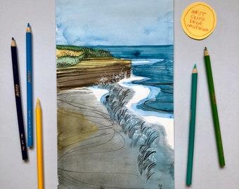 California Coastal Watercolor 2/6 - ORIGINAL ART - Frame Optional
