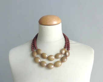 Brown gold statement necklace double strand