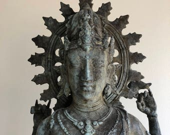 Large Hindu Dancing Shiva Nataraja Statue, vintage copper