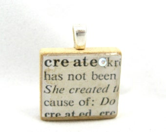 Create - vintage dictionary Scrabble tile pendant with Swarovski crystal