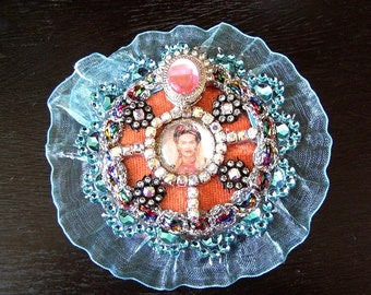 Frida Khalo Blue Rosette Brooch