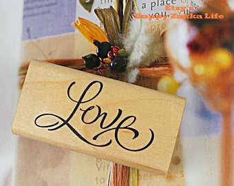 "Wooden Rubber Stamp - Love - 6cm x 3cm (2.4"" x 1.2"")"