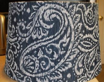 Custom Navy Blue and White Paisley Damask Lamp Shade