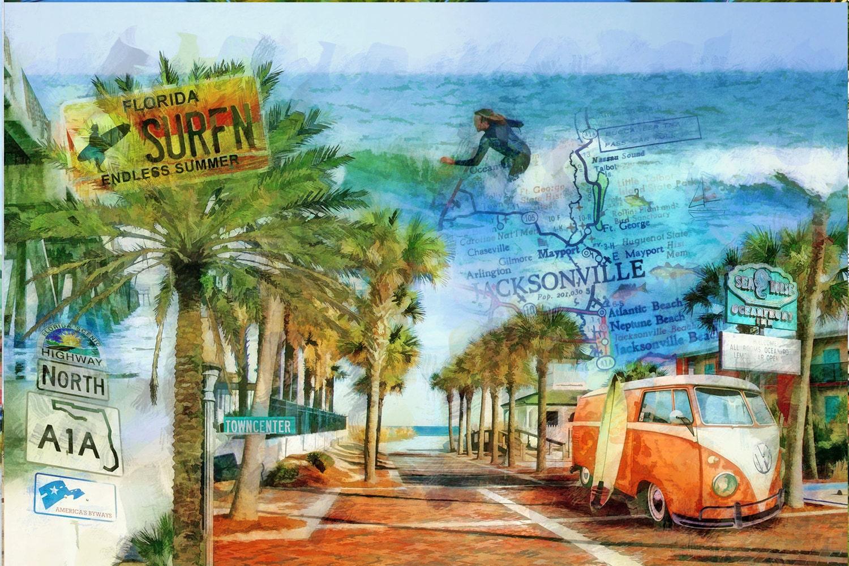 retro beach surfin 39 a1a vw bus orange vw bus surfer. Black Bedroom Furniture Sets. Home Design Ideas
