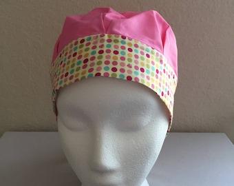 Women's Cancer Hat - Chemo Hat - Scrub Cap - Hair Loss - Head Coverings - Chemo Comfort - Polka Dots