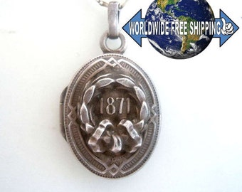 Silver amulet necklace German-Prussian War 1871