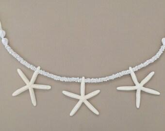 Starfish Garland with White Mongo Shells