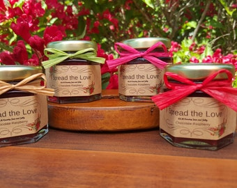 SUMMER WEDDING FAVORS!!  Summer Wedding Jam Favors -- 100 - 1.5oz jars New Summer Jam Flavors, Raffia Ribbon, & Custom Label