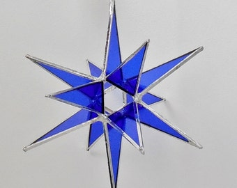 "12 Point Moravian Star. Cobalt Christmas Star. 3D Stained Glass Suncatcher. 6.5"" star."