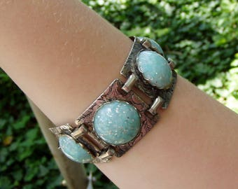 Turquoise Lucite and Stamped Silver Southwestern Style Link Bracelet, 1950's