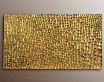 Gold Wall Sculpture - Organic Texture Wall Art - Gold Wall Art - Textured Wall Hanging - 3D Wall Decor - Abstract Wall Art - Gold Painting