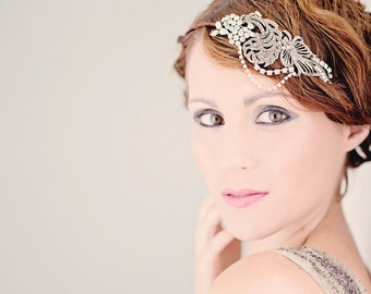 Vintage Bridal Headband - Great Gatsby 1920s Marcasite and Rhinestone Side Headband