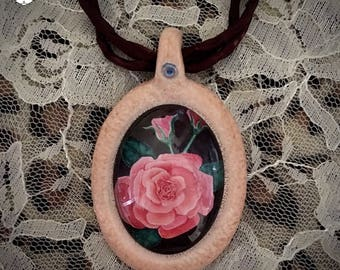 Original Botanical Jewelry | Rose Flower Painting Photo Pendant | Made in Melbourne | Australian Seller