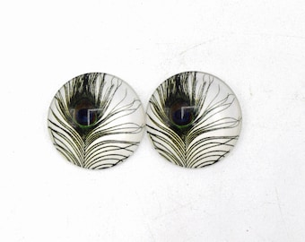 """4 cabochons round glass with images of 25mm Green and white peacock feathers """"3"""""""