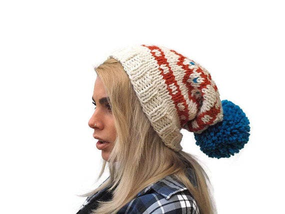 Knit fair isle hat pom pom hat Hand Knit Beanie Cream