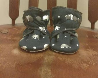 Navy and Silver Bear No-Slip Booties for Babies, Toddlers, Kids.