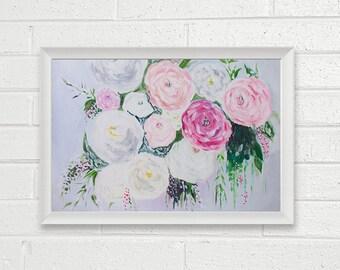 Print - Flowers Art Acrylic Painting