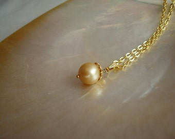 Gold South Sea Pearl Pendant with Cap