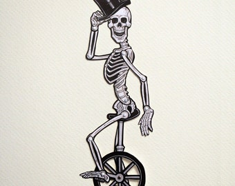 Skeleton Sir on Unicycle Articulated Paper Doll - Macabre Skull Art Decor