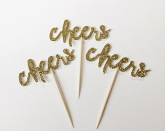 Cheers Glitter Cupcake Toppers - Anniversary - Engagement - Shower - Birthday - Party - Decorations - Donut Toppers - Gold - Party - Decor