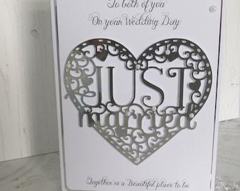 Luxury Wedding Day Card, Personalised, Handmade, Congratulations