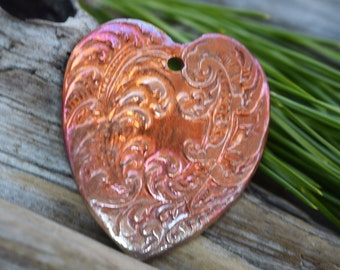 Victorian Heart- Large Handmade Copper Focal Pendant