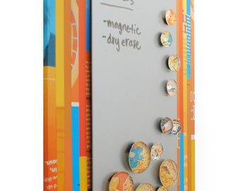 Magnetic & dry erase MESSAGE board - made from recycled magazines, strips of paper, organizer,notes, matching magnets,colorful,yellow,orange