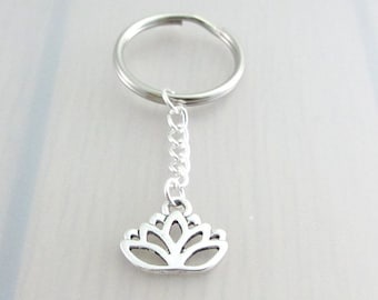 Lotus Flower Charm Keychain, Lotus Charm Keyring, Silver Flower Keychain, Flower Charm Keyring, Gardeners Gift, Nature Plant Gift